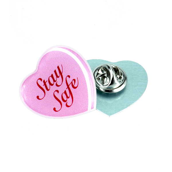 British made aluminium heart shaped clutch pin badge