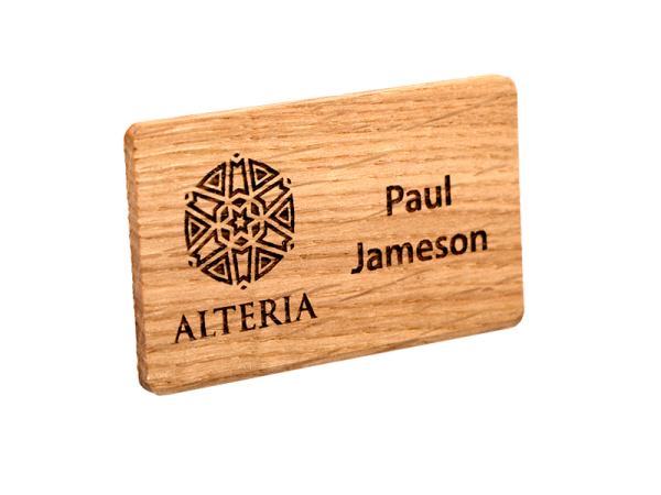 personalised oak engraved name badge