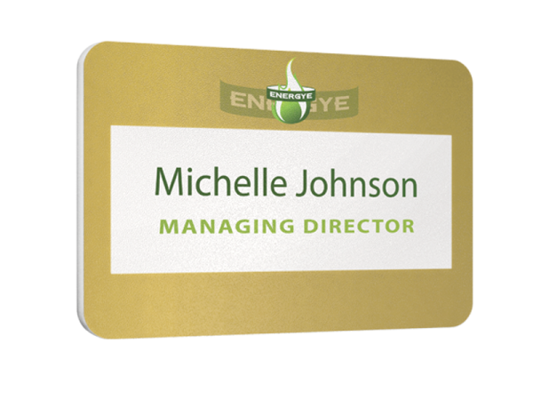 matt finish reusable name badge