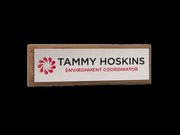 personalised oak framed name badge