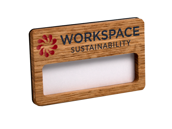 reusable wood faced window badge