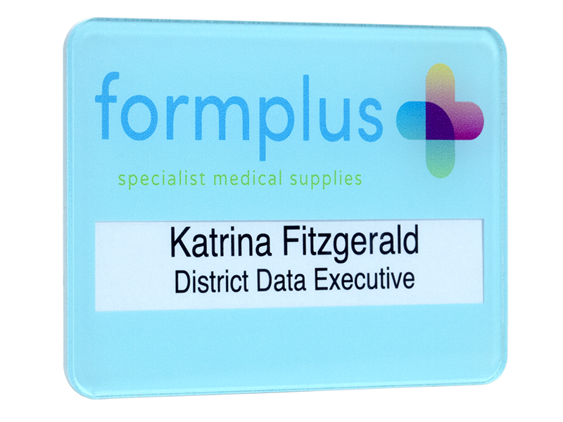 gloss faced reusable name badge