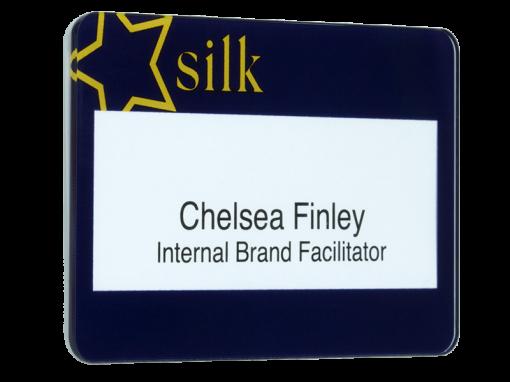 gloss faced reusable name badge