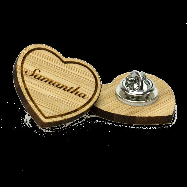 British made bamboo heart shaped clutch pin badge