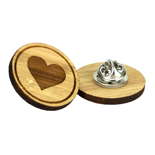 British made bamboo engraved clutch pin badge